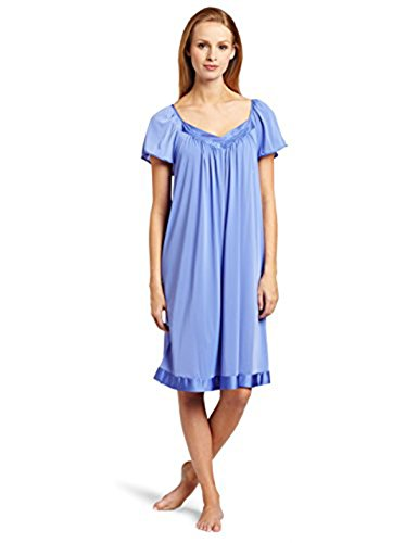 Exquisite Form Women's Coloratura Sleepwear Short Flutter Sleeve Gown 30109, Victory Violet, Medium (Long Ladies Gowns)