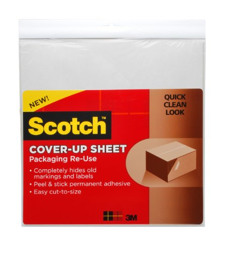 Scotch , Packaging Re-Use Cover-Up Sheets, 12 x 12-Inches, (RU-CUS6WH)