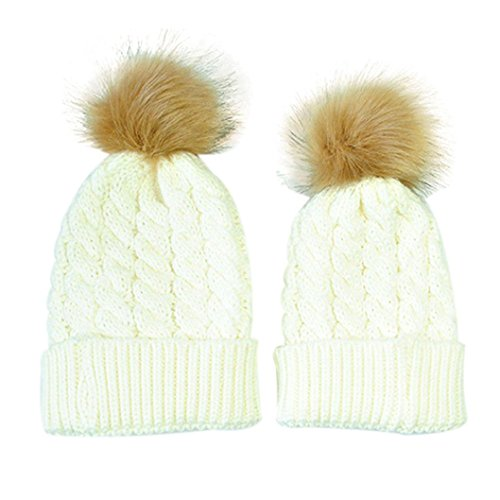 GBSELL Mom And Baby Winter Knitting Keep Warm Hat Sport Cap (White (ball new))