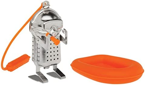 HIC Tea Infuser with Drip Tray, Rock Climber, 18/8 Stainless Steel