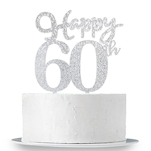 60th Birthday Anniversary (Happy 60th Cake Topper, Glitter Silver 60th Birthday Wedding Anniversary Party Cake Topper Decoration Sign)
