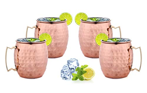 ARTISANS VILLAGE Moscow Mule Copper Mugs, 100% HANDCRAFTED, Food-safe Copper Mugs with Brass Handle and Stainless-Steel Lining, Highest Quality Cocktail 16 Oz (Set of 4, Hammered) (Steel Stainless Mug Set)