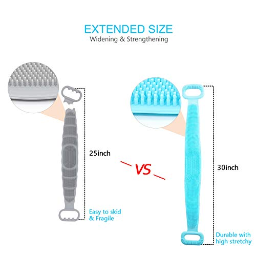 Silicone Back Scrubber for Shower Set, 2020 Updated Silicone Bath Body Brush Set, Handle Body Washer, Easy to Clean Washer, Exfoliating More Hygienic