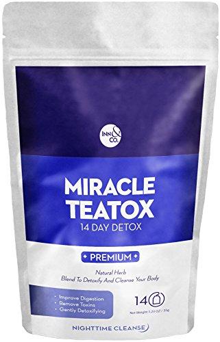 MIRACLE TEATOX Perte de Poids NightTimeTea: Bio Detox du Thé, du Corps à se Nettoyer, de Réduire les Ballonnements, Et de suppression de l'Appétit, 14 Jours de Detox avec du Thé Bio, Naturels Detox Cleanse