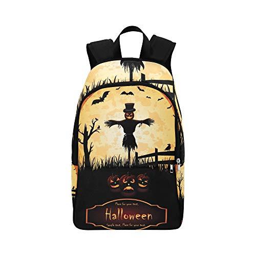 YSWPNA Halloween Jack O Lantern Casual Daypack Travel Bag College School Backpack for Mens and Women