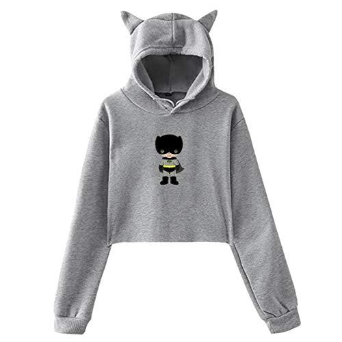 JJHH SHOP Instant Download Cute Boy Batman's Lantern's Little Brother Women's Girls Cat Ear Hoodie -