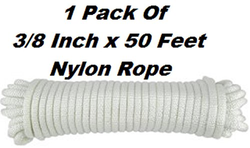 Nylon Rope Twisted Solid Braided - 1 Roll Of 3/8 Inch x 50 Feet Rope - For Camping, Sports And Outdoors, Construction, Moving, Furniture, Towing, Wheel & Axles, Boat Docks, & Fishing - By Katzco
