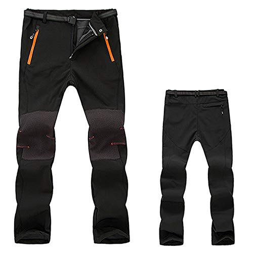 Gergeos Hiking Pants For Men - Waterproof Windproof Outdoor Fleece Warm Thick Climbing Trousers with Pockets(Black,Large) by Gergeos (Image #1)