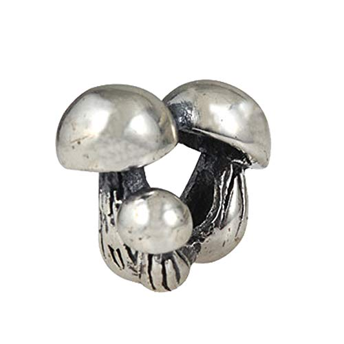 (Mushroom Charm 925 Standard Sterling Silver Family Bead Charm Happy beads Fits European DIY Charms Bracelet )