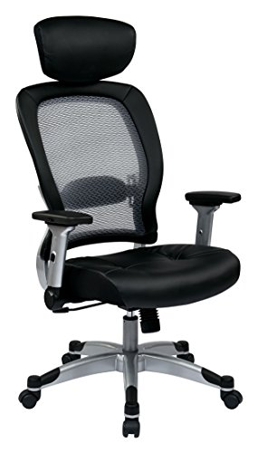 SPACE Seating Light AirGrid Back and Eco Leather Seat, 2-to-1 Synchro Tilt Control, 4-Way Adjustable Flip Arms, and Platinum Coated Nylon Base Managers Chair with Adjustable Headrest, Black