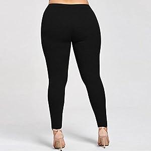 Lookatool Women's Plus Size Lace Elastic Leggings Trousers Yoga Sport Pants (L, Black)