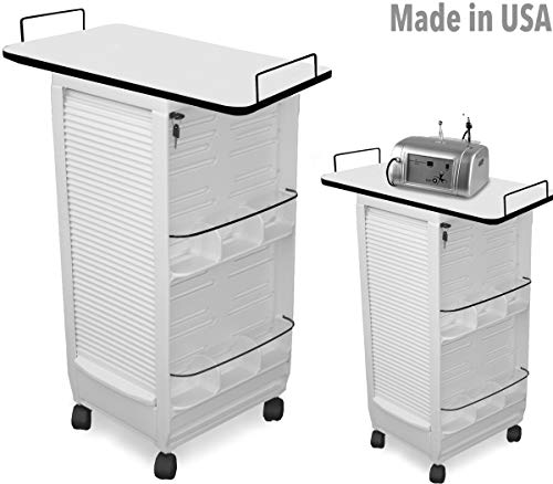 C180E-LT HF Aesthetician Salon Spa Rollabout Trolley Cart w/109 White Laminated top Made in USA
