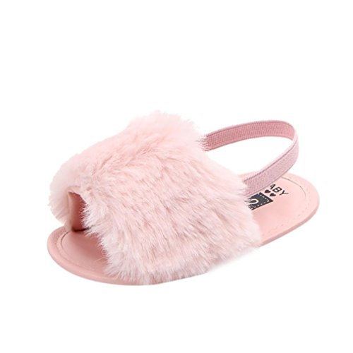 Voberry Baby Girl Flock Fur Soft Slide Slip On Flat Sandal Slipper Casual Infant Crib Shoes (6-9M, Pink) -
