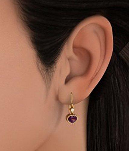 Or jaune 14K 0,06CT TW White-diamond (IJ | SI) et améthyste Buff Top Cœur Boucles d'oreilles pendantes