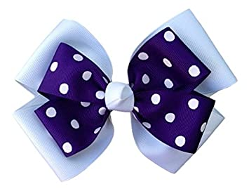 2179a0b04b64 Amazon.com   Victory Bows Polka Dot Double Quad Grosgrain Hair Bow- The  Siena Marie White and Purple- Made in the USA French Clip   Beauty
