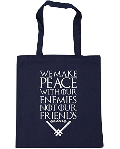 HippoWarehouse Wir Machen Frieden Mit Unserer Feinde Nicht Unser Freunde Spruch Einkaufstasche Fitnessstudio Strandtasche 42cm x38cm, 10 liter - Französische Marine, One size