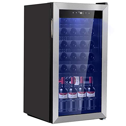 Smad 28 Bottles Freestanding Wine Cellar Compressor Wine Fridge with Digital Temperature Display, Stainless Steel Frame, Black