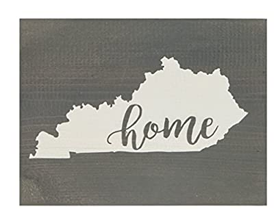 Kentucky State Home Grey 7.5 x 5.5 Solid Wood Barnhouse Block Sign