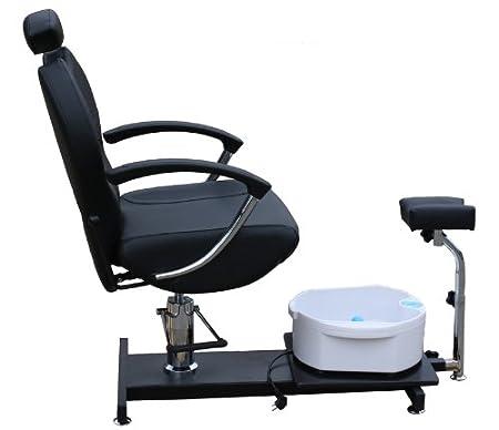 höhenverstellbarer Fußpflegestuhl mit kippbarer Rückenlehne sowie Sprudelbecken und Stativfußauflage