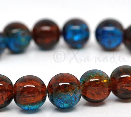 OutletBestSelling Pendant Bracelet Brown Blue Wholesale 10mm Round Crackle Glass Beads 20pcs