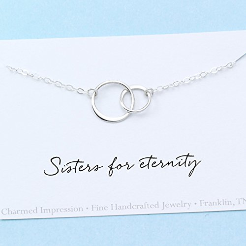 Personalized Necklace Omega (Sisters Necklace Sterling Silver 2 Connected Circles Jewelry with Meaning Best Friend Sisterhood)