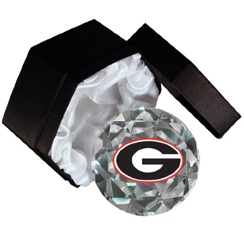 - NCAA University of Georgia Bulldogs Logo on a 4-Inch High Brillance Diamond Cut Crystal Paperweight