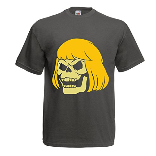 lepni.me N4411 T Shirts for Men Blonde Skull (Large Graphite Multi Color)