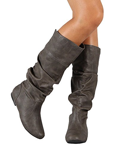 Grey Leather Mid Boot Calf Wide Faux Scrunch FISACE Womens Riding Calf Flat vPxqtwTYZn