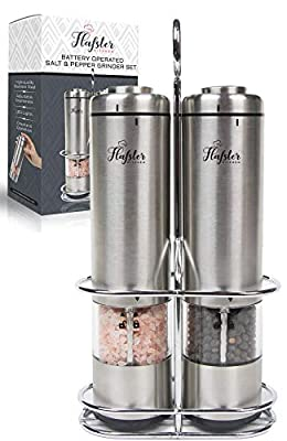 Flafster Kitchen Battery Operated Salt and Pepper Grinder Set-Electric Stainless Steel Salt&Pepper Mills(2)-Tall Power Shakers with Stand - Ceramic Grinders with LED lights and Adjustable Coarseness