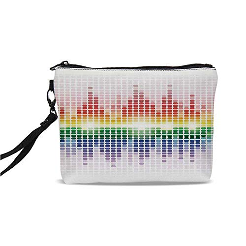 Music Decor Simple Cosmetic Bag,Rainbow Digital Equalizer Amplifier Recording Equipment Club for Women,9