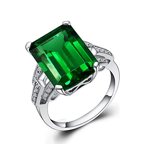 Cubic Zirconia Ring for Women Emerald Cut Geometric CZ Wedding Engagement Rings Size 6 Cubic Zirconia Emerald Ladies Ring