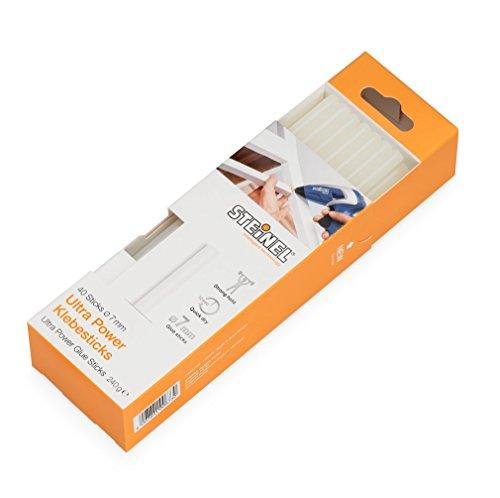 Steinel Klebesticks,  7 mm Durchmesser ULTRA Power Heißklebestifte, Heißklebe-Patronen mit 150 mm Länge, kraftvoller Universal-Klebstoff für die Verklebung von verschiedenen Materialien, 240 g Packung, 006730 40 Stück