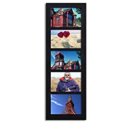Adeco Decorative Wood Wall Hanging Picture Frame, 4 by 6-Inch, Black, 5-Divided Opening