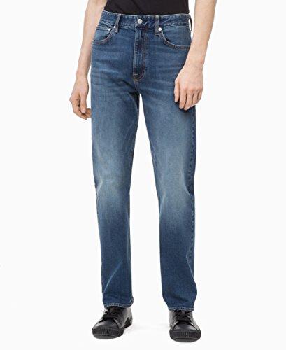 Calvin Klein Men's Relaxed Straight Jeans, Houston Mid Blue, - Calvin Leg Klein Jeans Straight