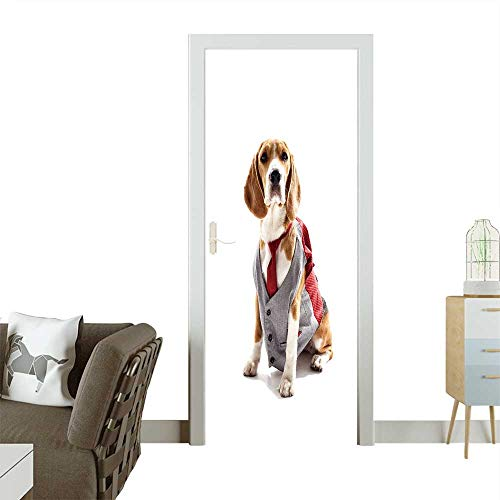 Homesonne Decorative Door Decal Serious Business Dog in Elegant Costume Stick The Picture on The Door W17.1 x H78.7 -