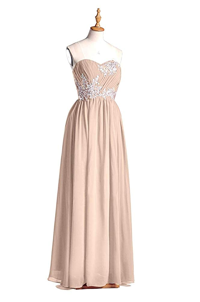 Ci-ONE Long Bridesmaid Dresses Chiffon Evening Dress with Lace Appliques