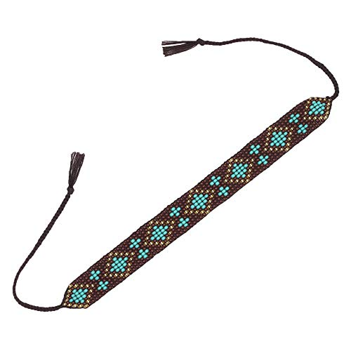 - El Allure Preciosa Jablonex Small Glass Seed Bead Patterned Boho Dark Brown and Teal Trendy Handmade Fine Goemetrical Design Bracelet with Twisted Tie Silk Thread for Women