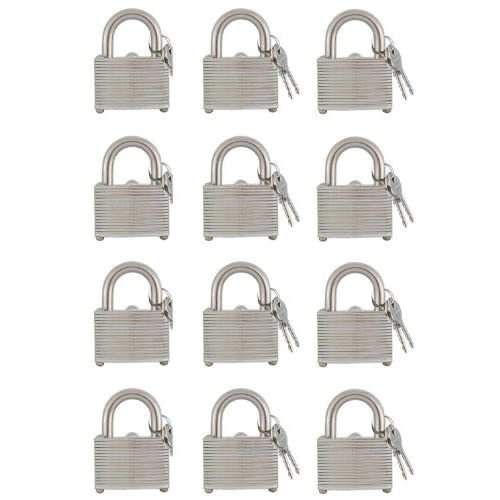 12 Piece Padlock Set KEYED ALIKE 1.5 inch Laminated Hardened Steel Shackle