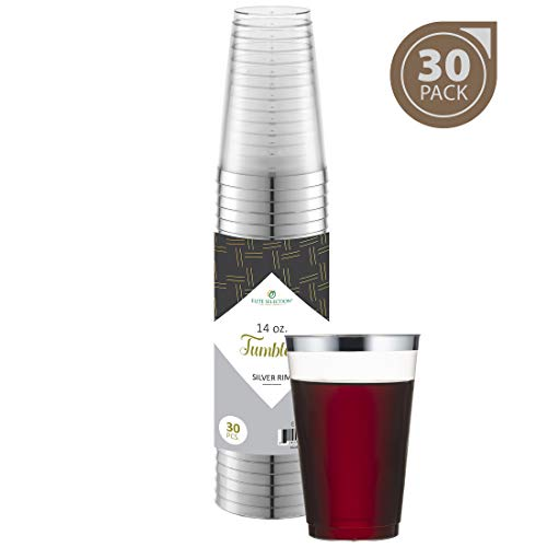 Silver Plastic Cups 14 Oz. Pack Of (30) Clear Disposable Plastic Cups - Silver Rim Cups - Fancy Hard Plastic Cups - Party Accessories - Wedding - Elegant Clear Cups- Tumblers (Plastic Mint Julep Cups Safe For Drinking)