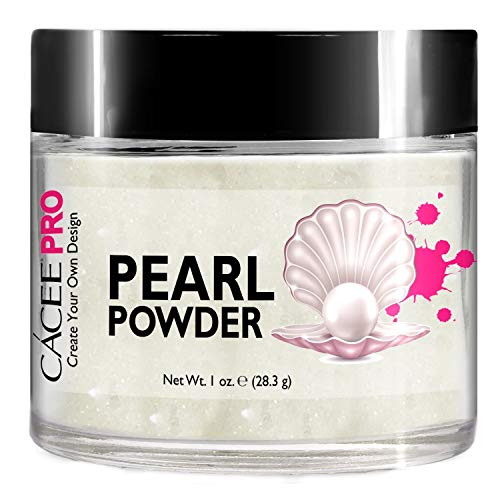 (Acrylic Powder for Nails, Pearl Color Nail Art, 1oz Jar by Cacee, For Professional Acrylic Nail Kit, Premix of Pigments, Pearlescent & Metallic Effects (Glitter White #30))