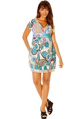 dmarkevous - Robe large effet ballon à motif fleurs, liens au dos - M, turquoise