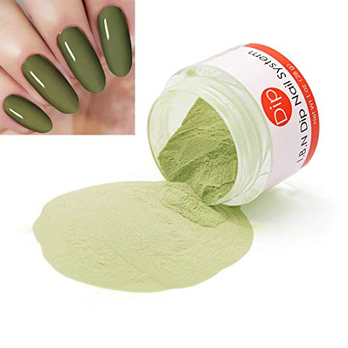 Dark Olive Green Dipping Powder (Added Vitamins) I.B.N Nail Dip Acrylic Powder, 1 Ounce (DIP 016)