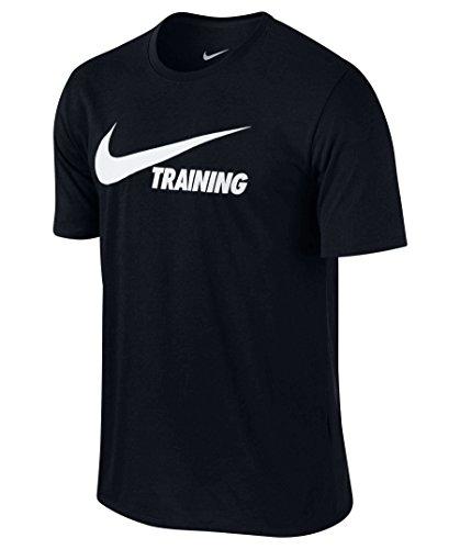 NIKE Men's Swoosh Training T-Shirt (Black/White, Large) (T-shirt Swoosh Mens)