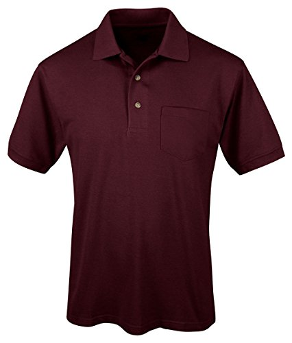 Tri Mountain Mens Peak Performers Easy Care Pocket Shirt Dark Maroon Xl