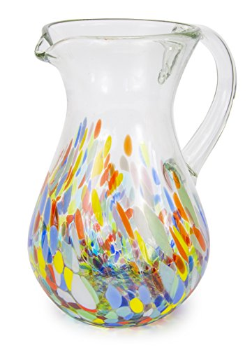 MEXART Hand Blown Multicolor Glass Pitcher 72 oz, Confetti Festival'