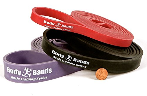 Body-Bands 41-Inch Loop Resistance Cross Training Band Set, Light, Red / Black / Purple