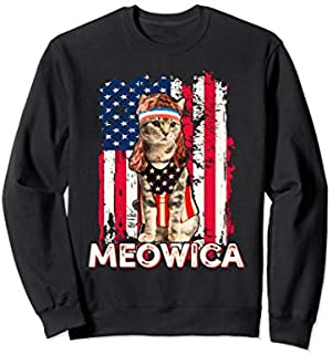 Meowica Cat Mullet American Flag Patriotic 4th of July  Sweatshirt T-shirt   Size S - 5XL
