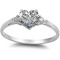 Sac Silver Sterling Silver Clear Simulated CZ Heart Promise Ring, 7 Valentine's Day gift