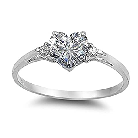 Sac Silver Sterling Silver Clear Simulated CZ Heart Promise Ring, 7 (Promise Rings Under 10)