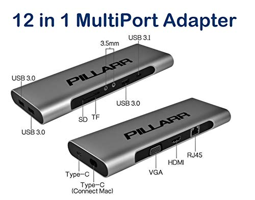 USB-C/Thunderbolt 3 Laptop Mini Docking Station with Power Delivery for MacBook Pro, Dell, HP - 12 in 1 MultiPort Hub Adapter - Aluminum Case in a Compact Design - Compatible with Windows and MacOS by Pillarr (Image #1)
